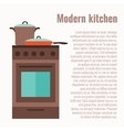 colorful kitchen range with utensil vector image
