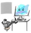office worker for a broken computer vector image