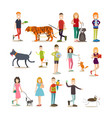 pet owners with their animals flat icon set vector image