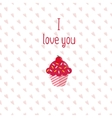 Valentine greeting card with pink cupcake on white vector image
