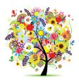 floral sunflower tree vector image vector image