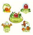 Farm fresh labels colored set vector image