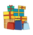 Pile of Colorful Wrapped Gift Boxes vector image
