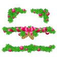 Parts of Christmas decoration for rectangle area vector image