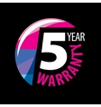 logo 5 years warranty vector image