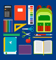 school workplace items collection vector image