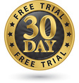 30 day free trial golden label vector image