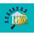 banking character search coins bag money vector image