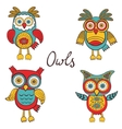 Bright owls set vector image