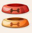 cartoon dog bowl red and yellow vector image