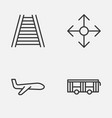 delivery icons set collection of vehicle road vector image