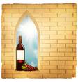 red wine bottle in arc window vector image