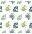 seamless pattern with hand drawn tropical leaves vector image