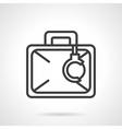 Secure briefcase handcuffs black line icon vector image