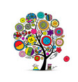 sewing crafts art tree sketch for your design vector image