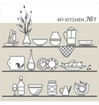 Kitchen utensils on shelves 1 vector image