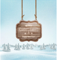 Winter landscape with a wooden ornate Merry vector image vector image
