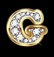 Letter g gold and diamond vector image