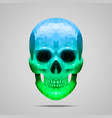 Polygonal blue green skull vector image