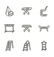 Housekeeping black line icons vector image