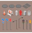 Isometric set icon of city objects vector image