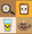 kawaii happy food icon vector image