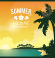 poster sunset seaside with logo summer holydays vector image