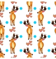 Seamless pattern with cartoon deers vector image