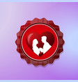 valentine day logo with silhouette couple over red vector image