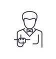 waiter with food tray line icon sign vector image