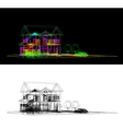 wireframe of cottage vector image