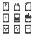 mobile phone damage icon set vector image