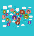 social connection on world map with people icons - vector image vector image