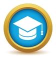 Gold graduate cap icon vector image
