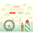 London England view street with sights in flat and vector image
