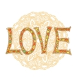 Hand drawn colorful text LOVE isolated with vector image
