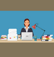 businesswoman with office things vector image