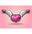 heart with the wings on the background vector image