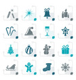 stylized christmas and new year icons vector image
