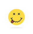 yellow drunk emoji face icon vector image
