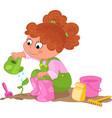 girl doing gardening vector image vector image