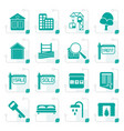 stylized simple real estate icons vector image vector image