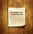 Calendar September 2014 vector image