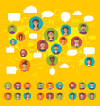 social network concept on world map with people vector image vector image