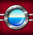 Ship porthole with seascape vector image
