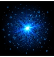 Black cubes and blue explosion on black background vector image