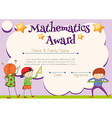 Mathematics certificate with student in background vector image vector image