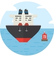 Round with colored cargo ship logistics icon vector image