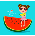 Cute girl eating watermelon vector image