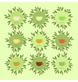 Banners with cups of tea and leaves vector image